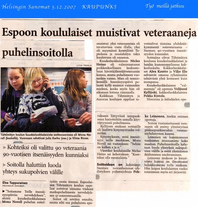 Espoolaiset koululaiset soittivat sotiemme Veteraaneille: kuuntelivat ja kyselivät.